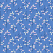 Lewis & Irene - Hann's House - 5820 - Modern Leaf Print on Blue - A280.2 - Cotton Fabric